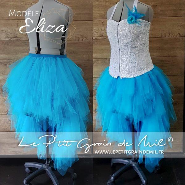 jupe tutu asymétrique en mouchoirs de tulle turquoise bustier mariage mariée cérémonie strass