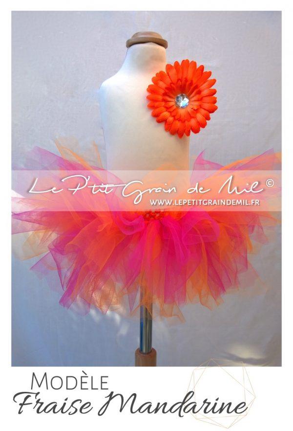 jupe tutu bébé rose orange en tulle mariage bapteme ceremonie anniversaire