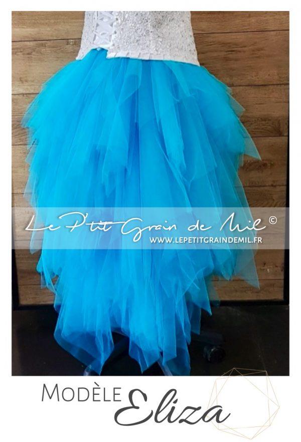 jupe tutu femme asymétrique en mouchoirs de tulle mariage mariée turquoise
