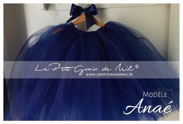 jupe tutu mi longue bleu marine femme enfant mariage cérémonie boheme