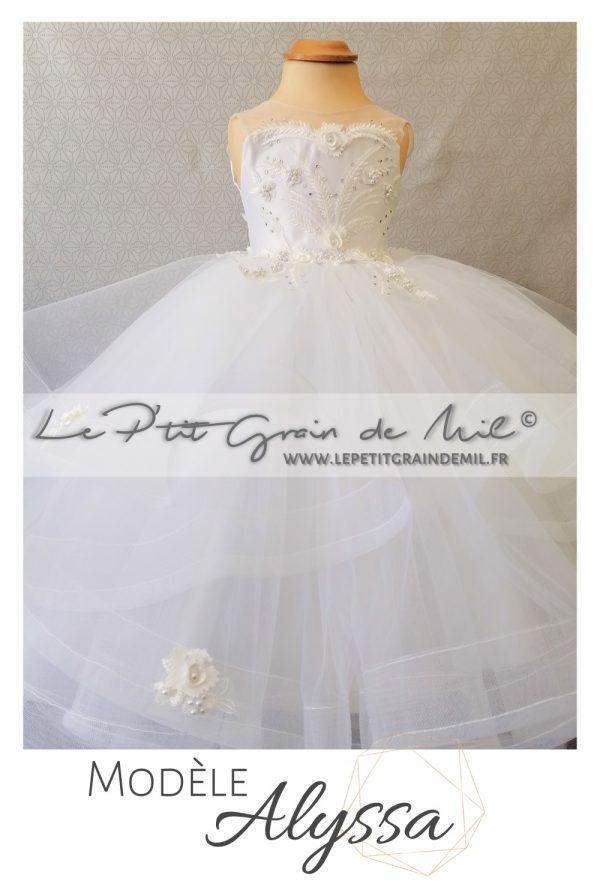 mini robe de mariée petite fille princesse mariage dentelle strass perles tulle