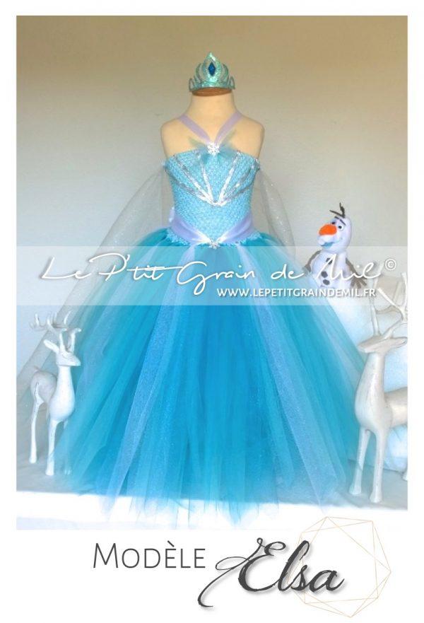 panoplie robe costume déguisement de la reine des neiges elsa