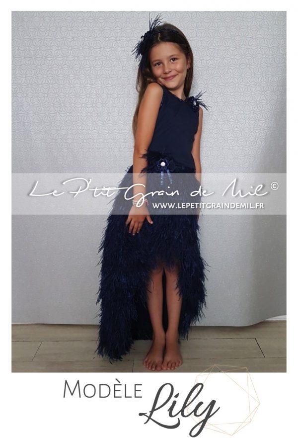 robe cérémonie mariage enfant plumes gatsby vintage charleston année 20 bleu marine