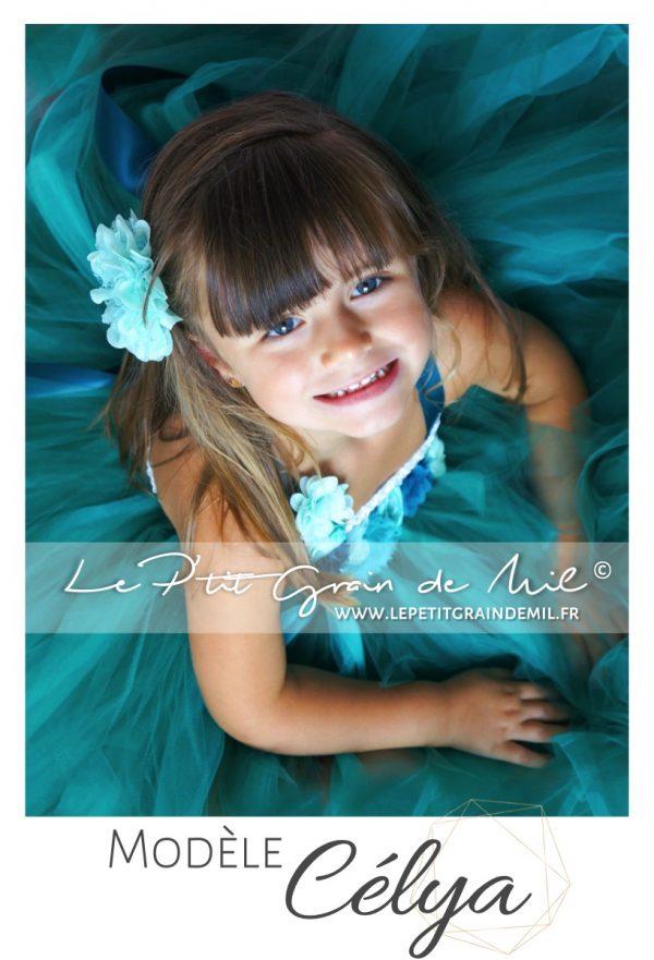 robe de cérémonie petite fille vert bleu canard tutu en tulle princesse mariage cérémonie