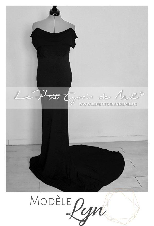 robe de maternité soirée noir pour photo mariage femme enceinte shooting photo noël nouvel an