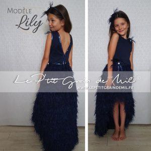 robe de petite fille d'honneur pour mariage bleu marine plumes