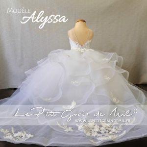 robe de princesse en tulle avec traine mini mariée fille enfant strass dentelle perles prestige luxe