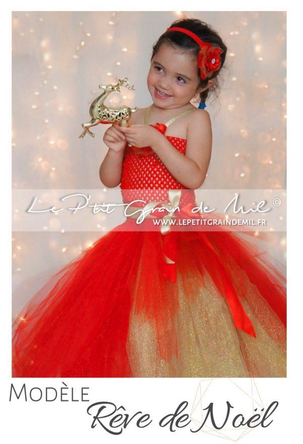 robe en tulle bébé fille rouge et or noël nouvel an