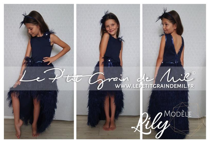 Robe En Plumes Asymetrique Enfant Mariage Ceremonie Gatsby Lily Le P Tit Grain De Mil