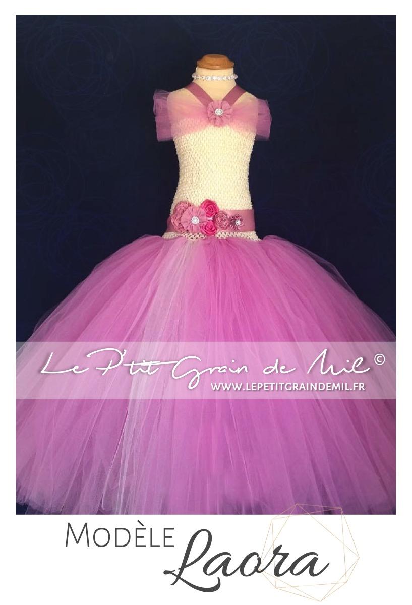 37bcd15b217a6c Robe Tutu de Princesse Vieux Rose Mariage Cérémonie Enfant ● LAORA