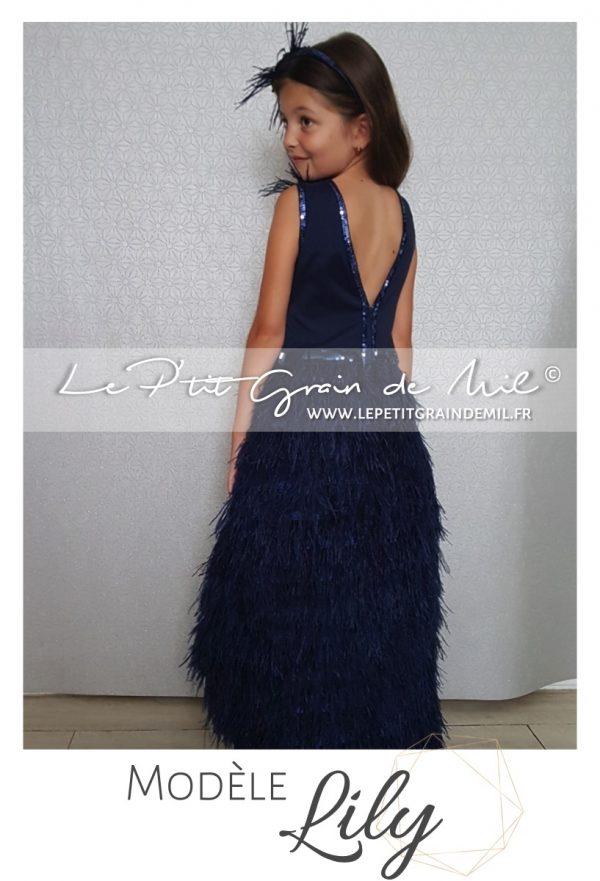 robe mariage cérémonie petite fille longue courte asymétrique plumes bleu marine
