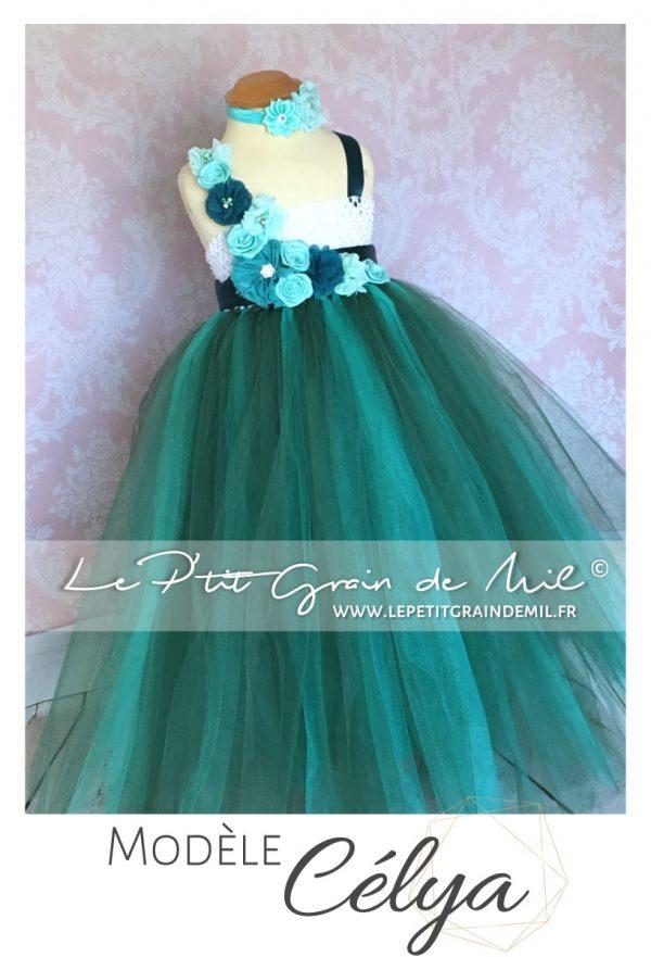 robe petite fille vert bleu canard tutu en tulle princesse mariage cérémonie