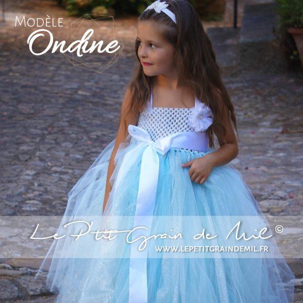 robe tutu cérémonie longue en tulle bleu turquoise paillettes bébé fille