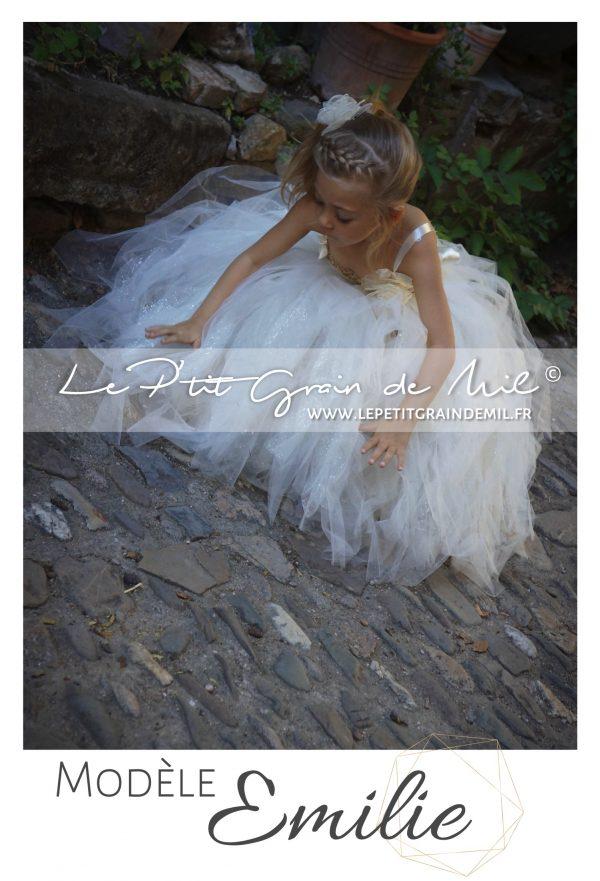 robe tutu cérémonie mariage fille demoiselle d'honneur enfant ivoire mordoré paillettes cérémonie princesse or