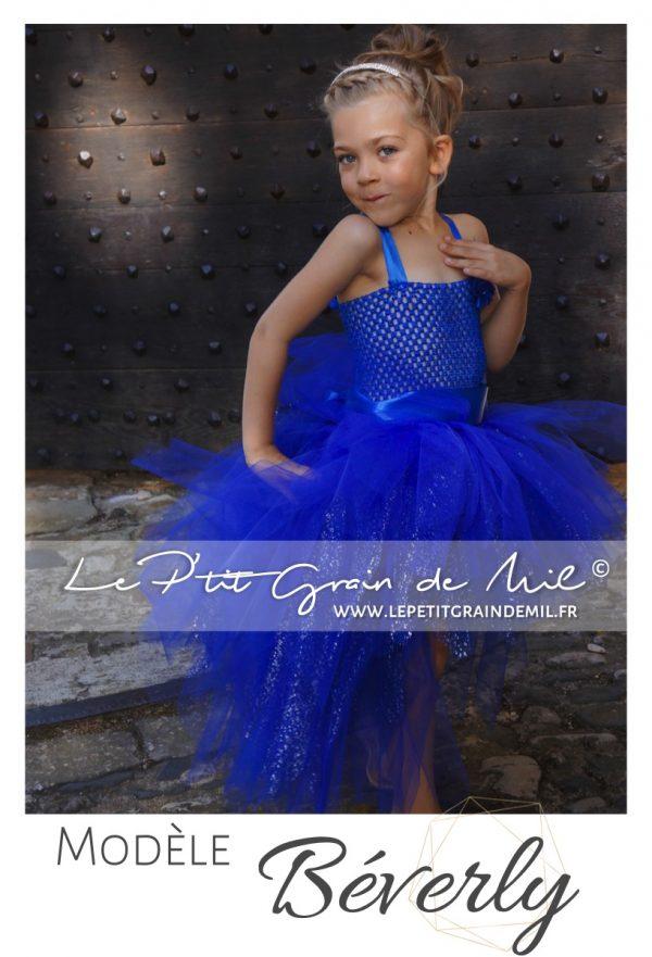robe tutu cérémonie mariage princesse asymétrique bébé petite fille enfant bleu roy électrique marine