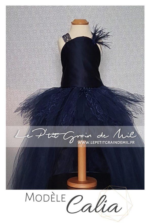 robe tutu de cérémonie asymétrique tulle dentelle pour enfant mariage cérémonie bleu marine