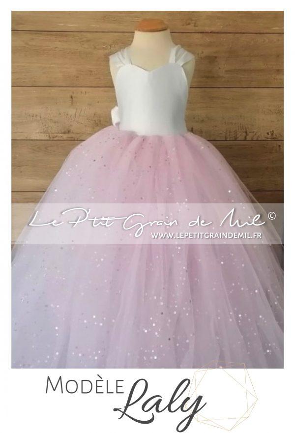 robe tutu de cérémonie demoiselle d'honneur enfant cortege rose et blanc avec gros noeud