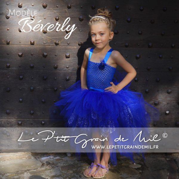 robe tutu de cérémonie enfant asymétrique bleu roy marine electrique bébé fille paillettes