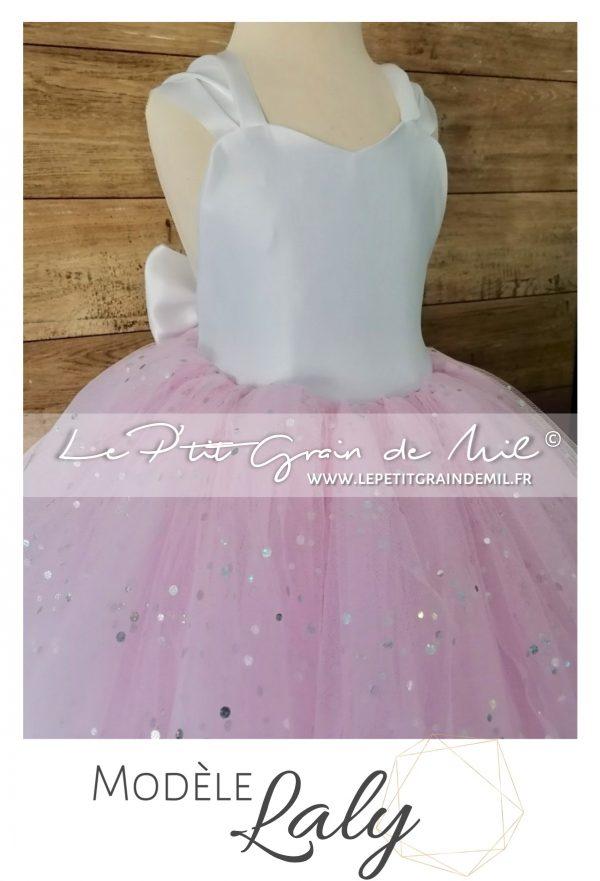 robe tutu de cérémonie enfant demoiselle d'honneur fille cortege rose et blanc avec gros noeud