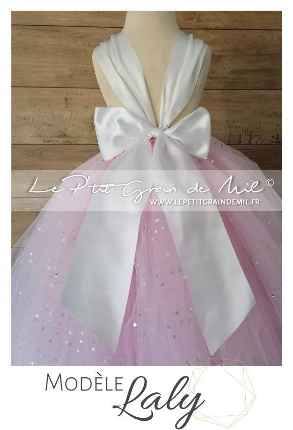 robe tutu de cérémonie fille demoiselle d'honneur enfant cortege rose et blanc avec gros noeud