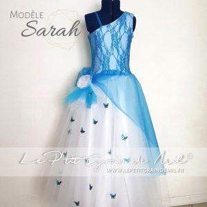 robe tutu de cérémonie fille tulle bleu turquoise papillons dentelle satin strass