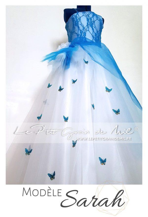 robe tutu de cérémonie fille tulle dentelle bleu turquoise papillons satin strass