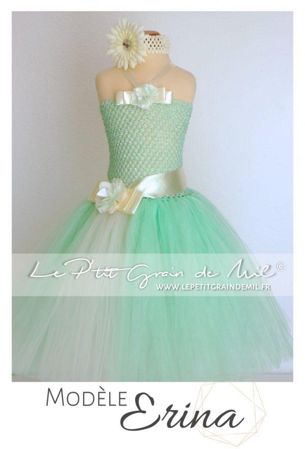 robe tutu de cérémonie mariage pour petite fille en tulle vert d'eau