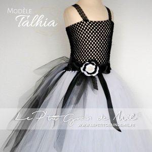 robe tutu de ceremonie fille noir et blanc en tulle