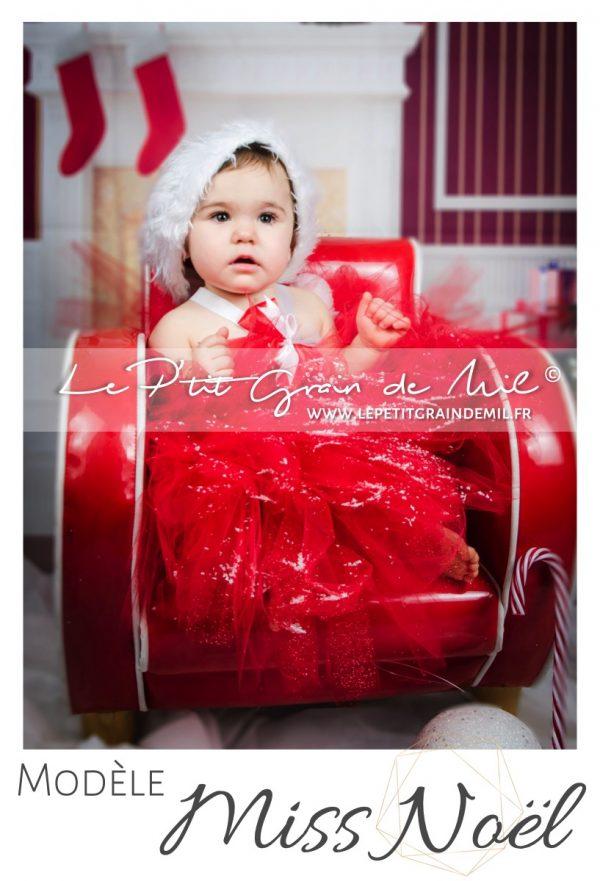 robe tutu de mère noël en tulle bébé fille rouge de noel