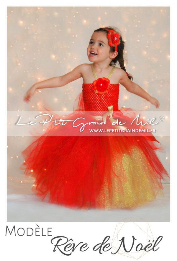 robe tutu de noel rouge et or déguisement en tulle barbie petite fille