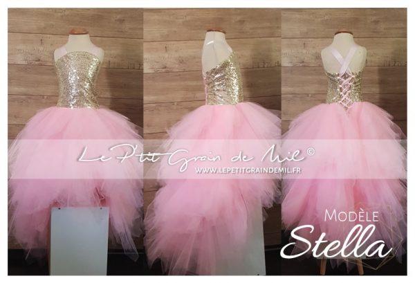 robe tutu de princesse asymétrique enfant or rose fille cérémonie mariage annivesraire