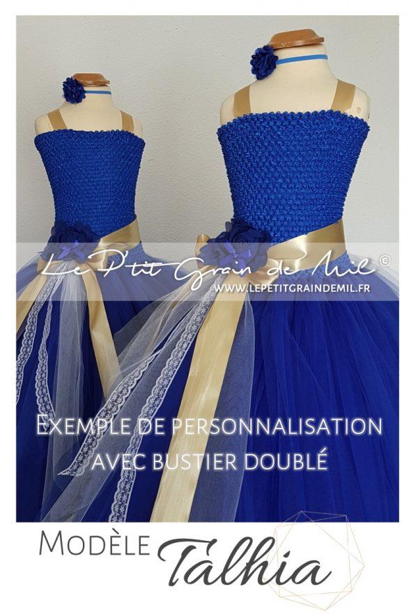 robe tutu de princesse cérémonie enfant en tulle bleu roi et or dentelle blanche