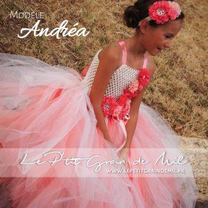robe tutu de princesse cérémonie noël enfant fille corail corail été tulle