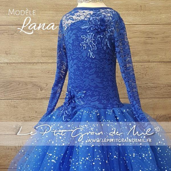 robe tutu de princesse fille bleu roi à paillettes cendrillon dentelle sequins demoiselle d'honneur mariage cérémonie