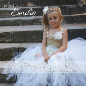 robe tutu de princesse petite fille couleur or mordoré paillettes baptême mariage cérémonie noël