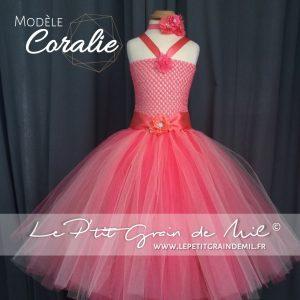 robe tutu de princesse petite fille mariage bapteme cérémonie rose corail pêche