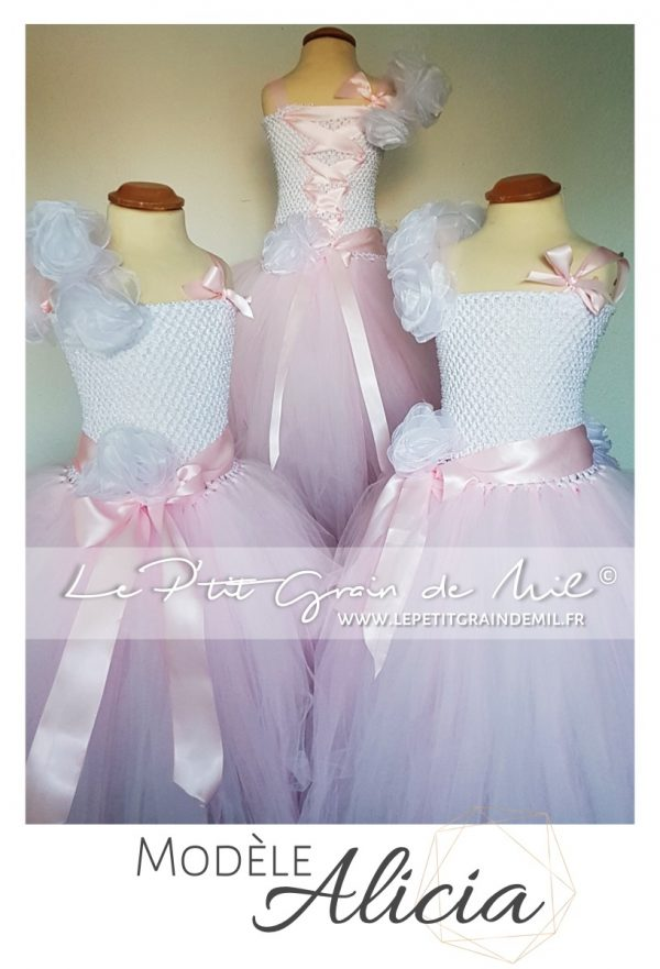 robe tutu de princesse rose poudré à paillettes pour petite fille cérémonie mariage baptême