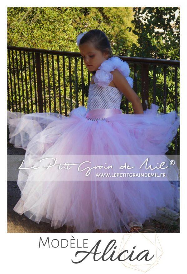 robe tutu de princesse rose poudré pour petite fille rose ivoire cérémonie mariage baptême