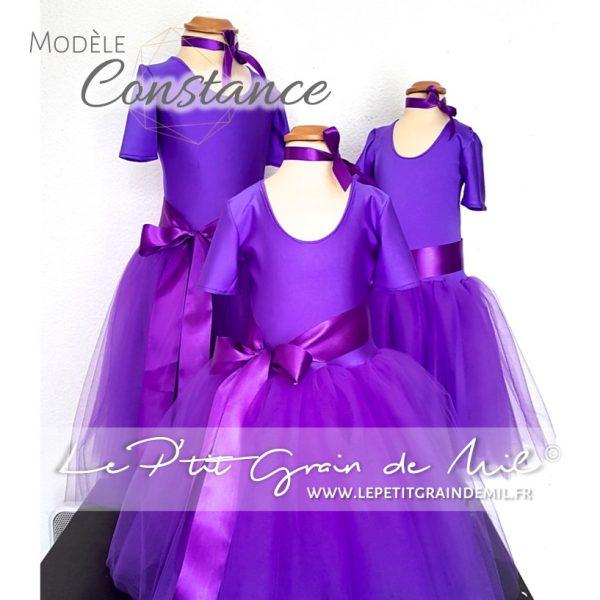 robe tutu demoiselle d'honneur fille tulle justaucorps bodie body manches courtes cortege cérémonie mariage