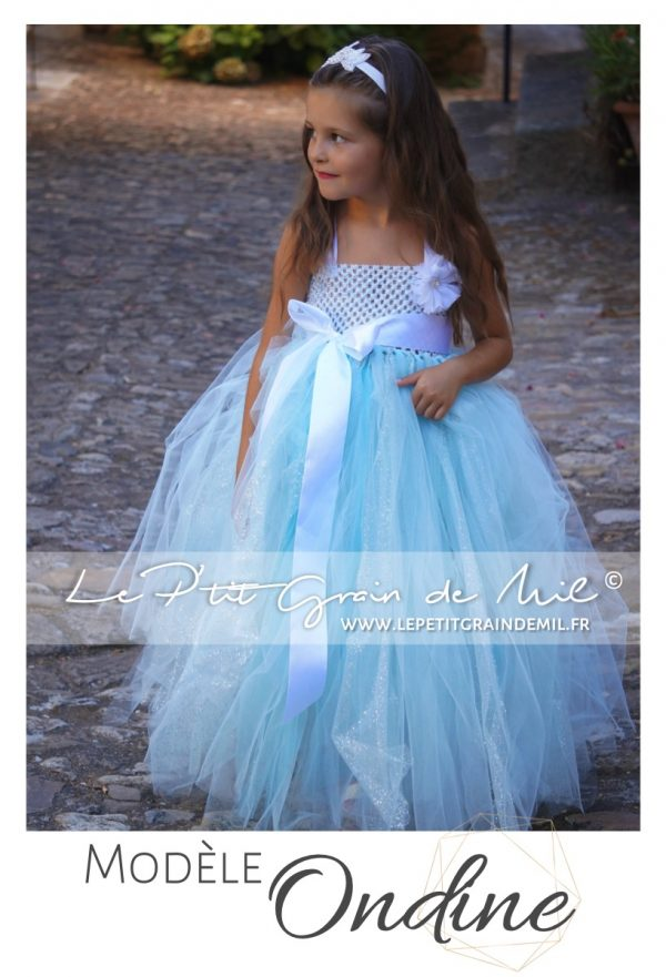 robe tutu demoiselle d'honneur longue bébé fille enfant en tulle bleu turquoise paillettes