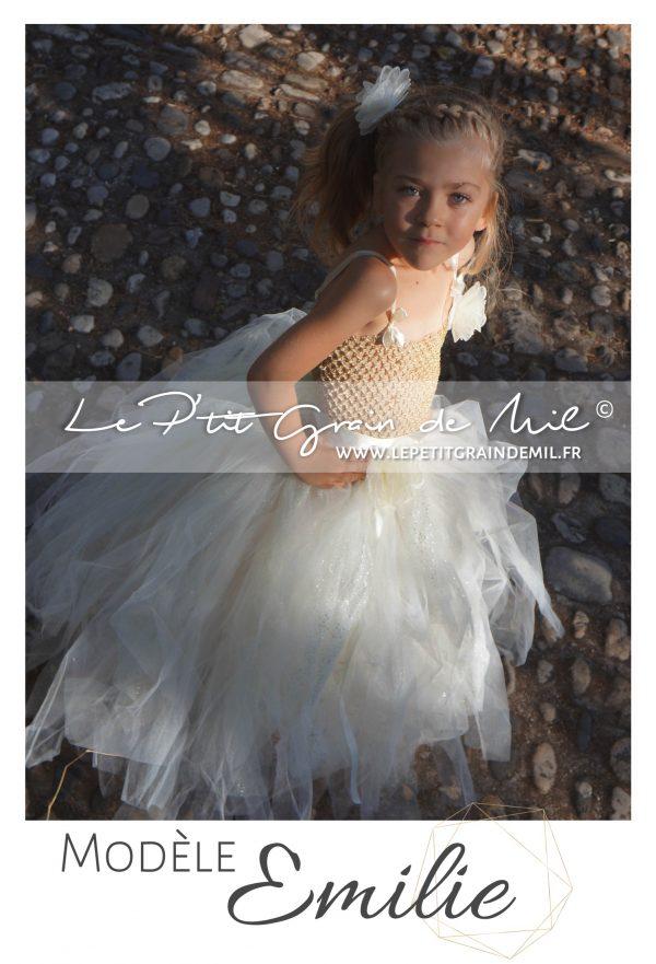 robe tutu demoiselle d'honneur mariage cérémonie pour fille enfant ivoire paillettes mordoré