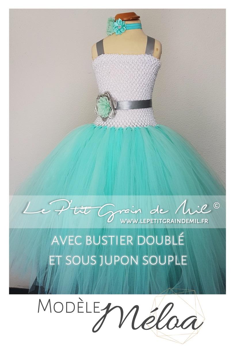 Robe Tutu Mariage Demoiselle D Honneur Enfant En Tulle Vert D Eau Meloa