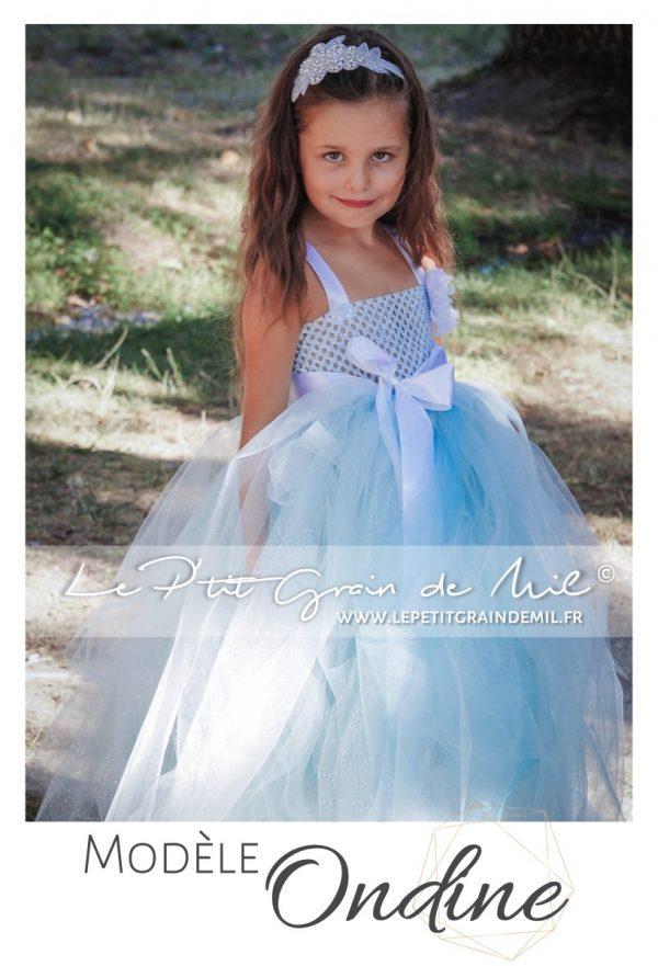 robe tutu elsa reine des neiges cérémonie bébé fille bleu blanc strass paillettes