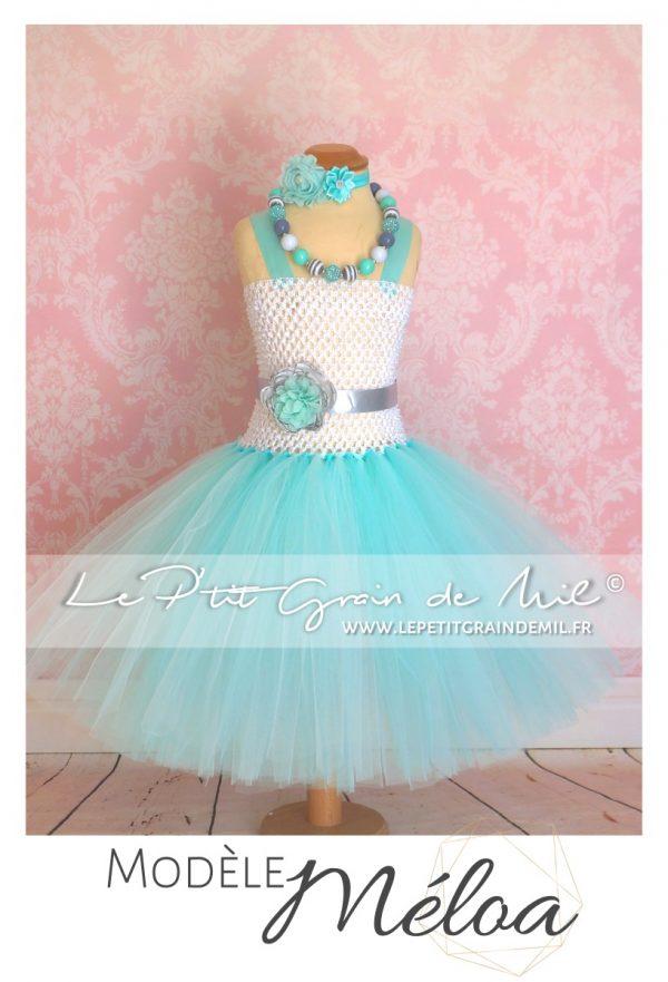 robe tutu en tulle de princesse petite fille mariage bapteme cérémonie vert d'eau lagon bleu turquoise