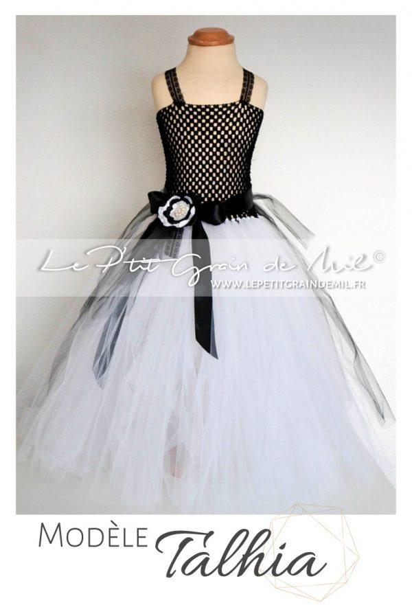robe tutu en tulle mariée noir et blanc enfant fille