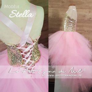 robe tutu enfant cérémonie plumes mouchoirs tulle or rose asymétrique dos nu