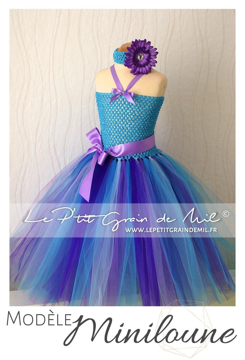 Robe Tutu Longue Demoiselle D Honneur Princesse Turquoise Mauve Miniloune Le P Tit Grain De Mil