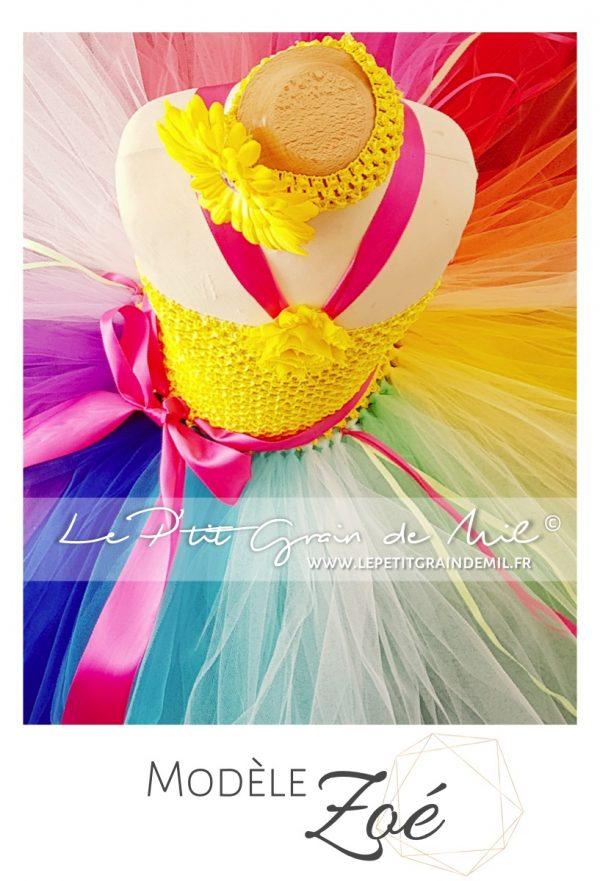 robe tutu fille en tulle multicolore arc en ciel rainbow