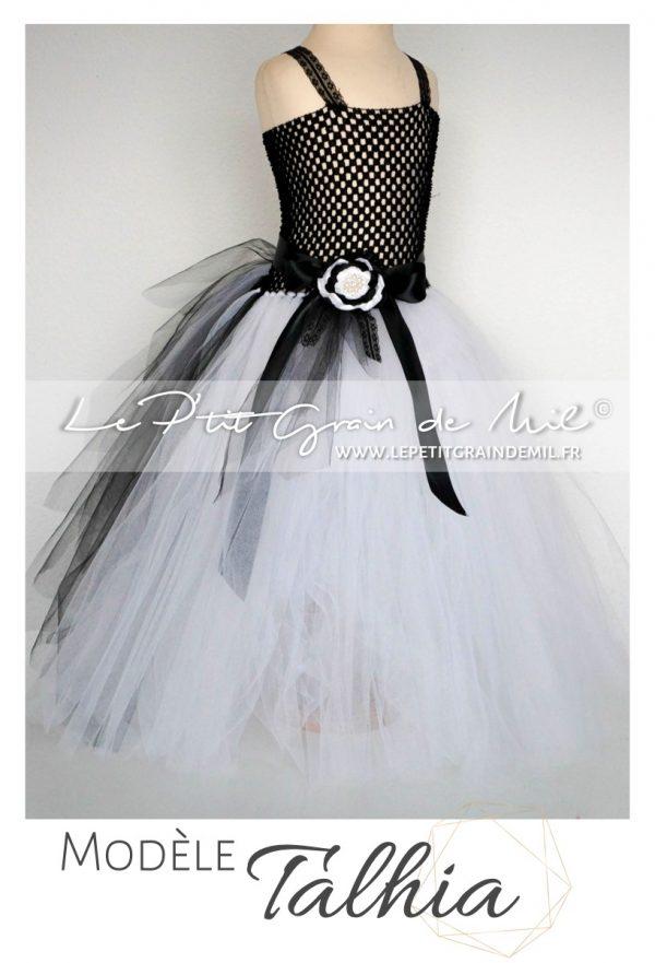robe tutu fille mariage cérémonie demoiselle d'honneur robe en tulle noir et blanche enfant
