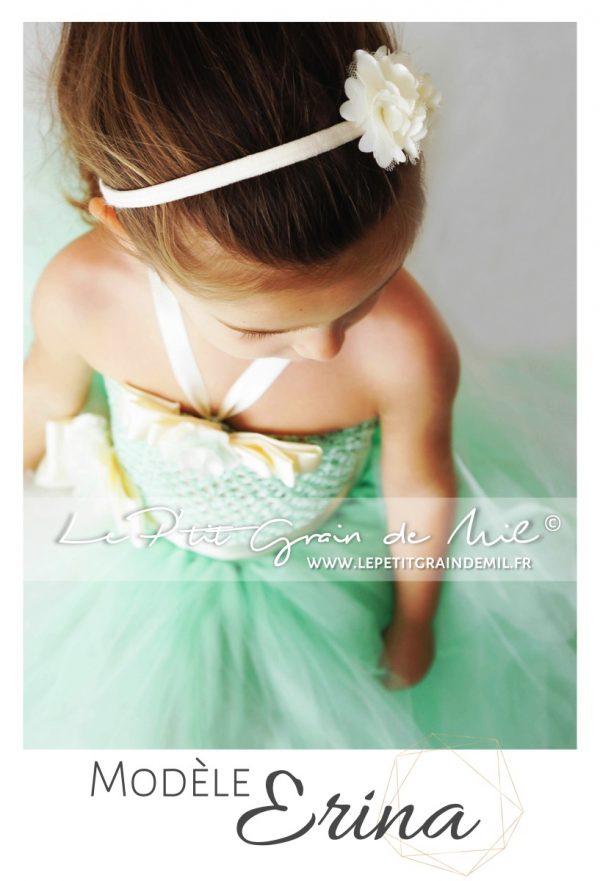 robe tutu fille vert d'eau cérémonie mariage